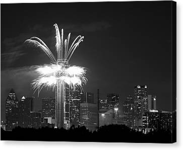 Dallas Reunion Tower Fireworks 5x7 Bw Canvas Print