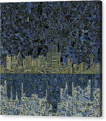 Dallas Skyline Abstract 2 Canvas Print