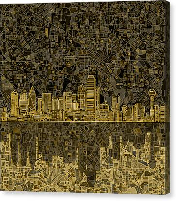 Dallas Skyline Abstract 3 Canvas Print
