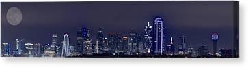 Dallas Skyline Full Moon Canvas Print