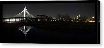 Dallas Skyline Hunt Bridge Color Canvas Print