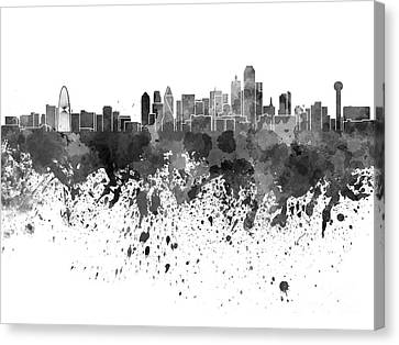 Dallas Skyline In Black Watercolor On White Background Canvas Print by Pablo Romero