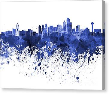 Dallas Skyline In Blue Watercolor On White Background Canvas Print by Pablo Romero
