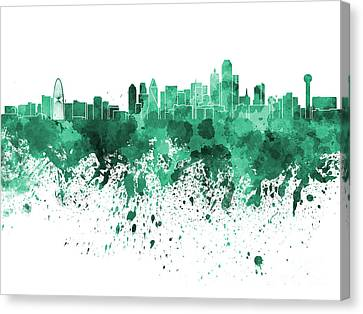 Dallas Skyline In Green Watercolor On White Background Canvas Print by Pablo Romero
