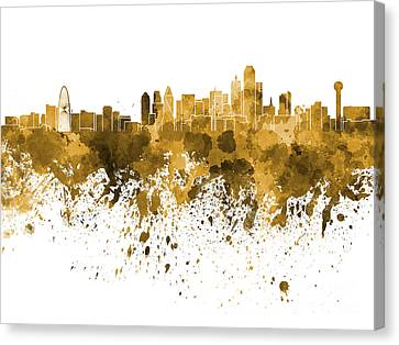 Dallas Skyline In Orange Watercolor On White Background Canvas Print by Pablo Romero