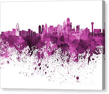 Dallas Skyline In Pink Watercolor On White Background Canvas Print by Pablo Romero