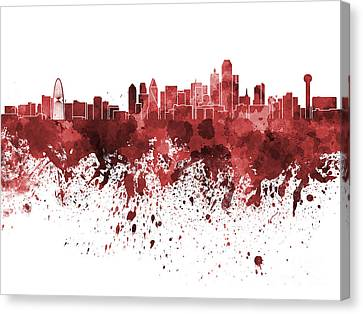 Dallas Skyline In Red Watercolor On White Background Canvas Print by Pablo Romero