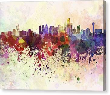 Dallas Skyline Canvas Print - Dallas Skyline In Watercolor Background by Pablo Romero