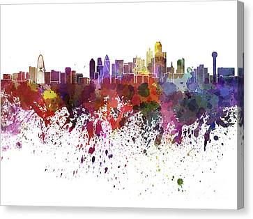 Dallas Skyline In Watercolor On White Background Canvas Print by Pablo Romero