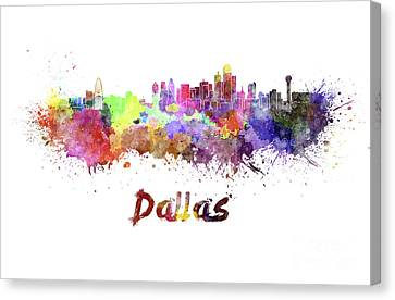 Dallas Skyline In Watercolor Canvas Print by Pablo Romero