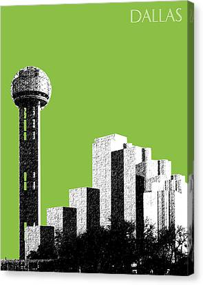 Dallas Skyline Reunion Tower - Olive Canvas Print by DB Artist