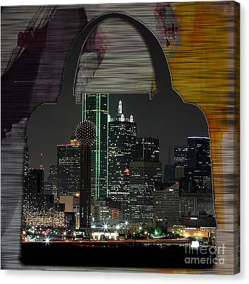 Dallas Texas Skyline In A Purse Canvas Print by Marvin Blaine