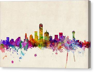 Dallas Texas Skyline Canvas Print by Michael Tompsett