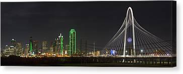 Dallas Texas Skyline On A December Night 2 Canvas Print by Rob Greebon
