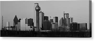 Dallas Trinity River Black And White Canvas Print