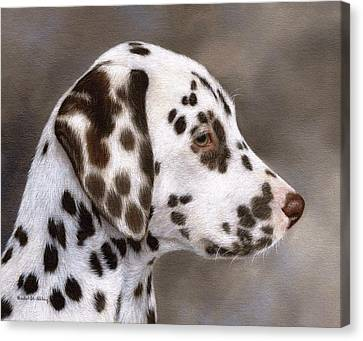 Dalmatian Puppy Painting Canvas Print by Rachel Stribbling