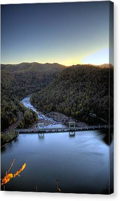 Canvas Print featuring the photograph Dam Across The River by Jonny D