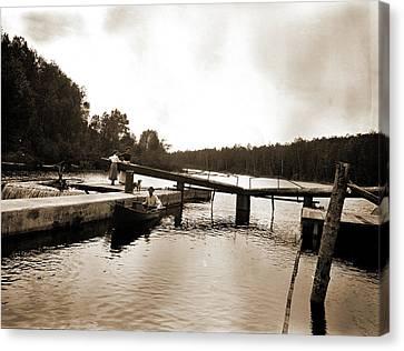 Dam And Lock, Saranac River, Adirondack Mtns Canvas Print by Litz Collection