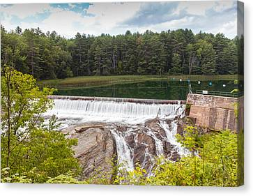 Dam On The Ottauquechee River Canvas Print by John M Bailey