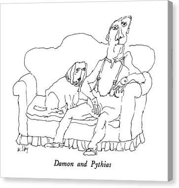 Damon And Pythias Canvas Print by William Steig