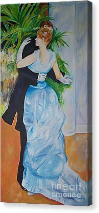 Canvas Print featuring the painting Dance In The City  by Eric  Schiabor