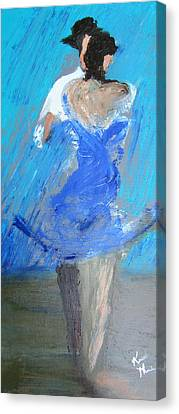 Canvas Print featuring the painting Dance In The Rain by Keith Thue