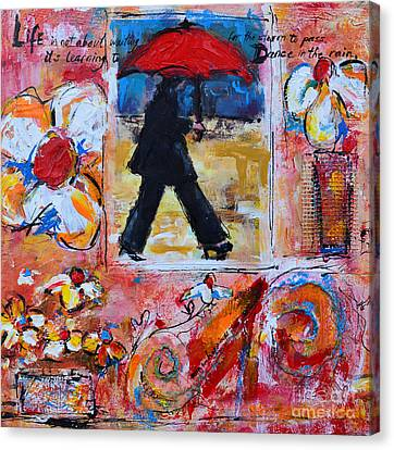Dance In The Rain Under A Red Umbrella Canvas Print by Patricia Awapara