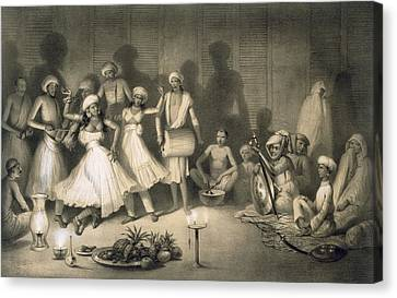 Dance Of Nautch Girls Canvas Print by A Soltykoff