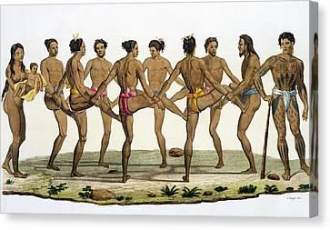 Dance Of The Caroline Islanders, Plate Canvas Print by Felice Campi