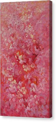 Dance Of The Cherry Blossoms Canvas Print by Karin  Leonard