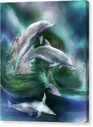 Dancing Canvas Print - Dance Of The Dolphins by Carol Cavalaris