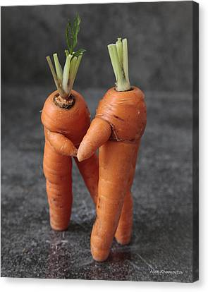 Dance With Me - Funny Art - Comic Dancing Carrot Couple - Good Luck In Love Energy Print Canvas Print by Alex Khomoutov