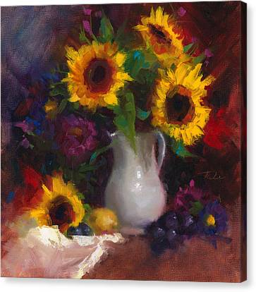 Dance With Me - Sunflower Still Life Canvas Print by Talya Johnson