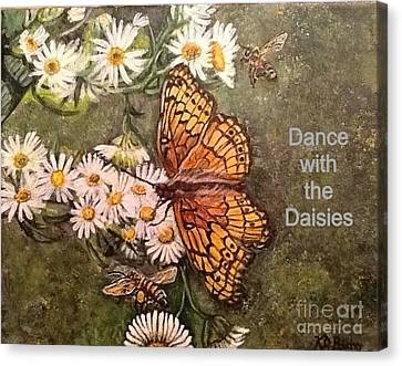 Dance With The Daisies With An Inspirational Quote Canvas Print by Kimberlee Baxter