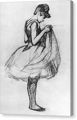 Dancer Adjusting Her Costume And Hitching Up Her Skirt Canvas Print