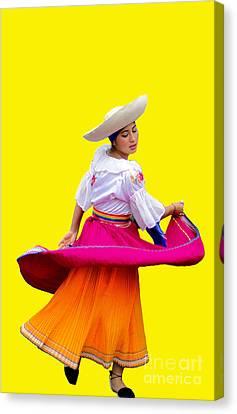 Dancer At Pase Del Nino In Cuenca Ecuador Canvas Print by Al Bourassa