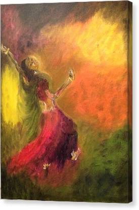 Canvas Print featuring the painting Dancer by Brindha Naveen