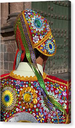 Dancer In Native Costume Peru Canvas Print by Bill Bachmann