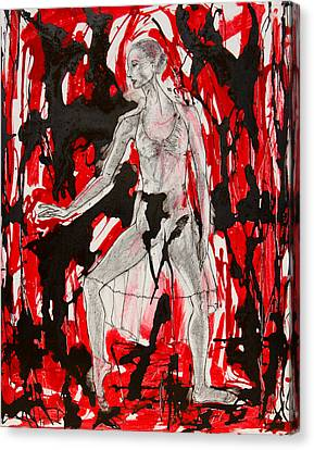 Dancer In Red And Black Canvas Print by Brenda Clews