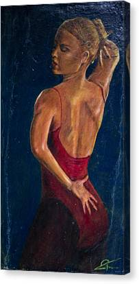 Dancer In Red Canvas Print by Peter Turner