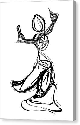 Black And White Human Figure Drawing Canvas Print - Dancer by Michael Lee