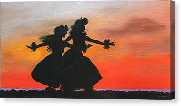 Dancers At Sunset Canvas Print by Wahine Art