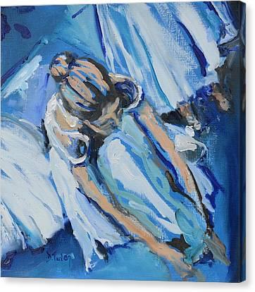 Tying Shoe Canvas Print - Dancers In Blue by Donna Tuten