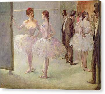 Dancers In The Wings At The Opera Canvas Print by Jean Louis Forain