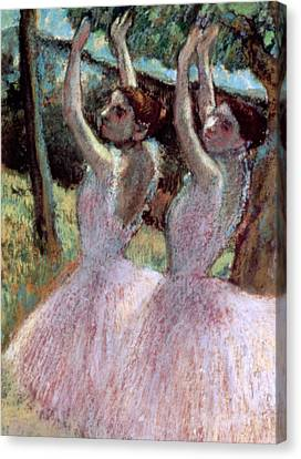 Dancers In Violet Dresses Canvas Print by Edgar Degas