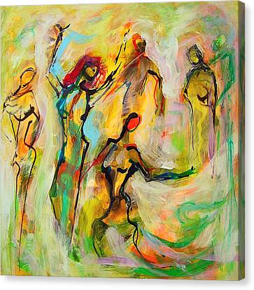 Canvas Print featuring the painting Dancers by Mary Schiros