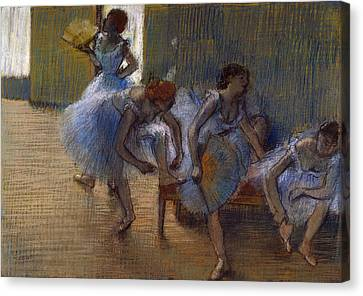 Dancers On A Bench, 1898 Canvas Print by Edgar Degas