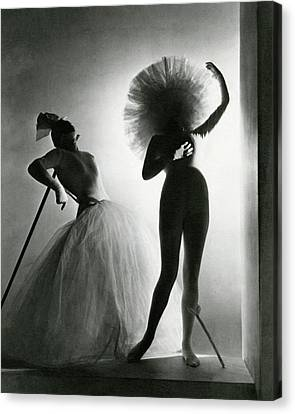 Tulle Canvas Print - Dancers Posing In Costumes From Salvador Dali's by Horst P. Horst