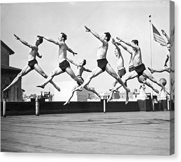 Shawn Canvas Print - Dancers Practice On A Rooftop. by Underwood Archives