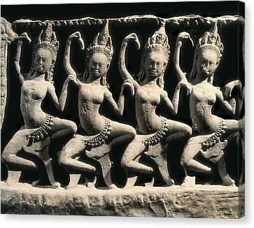 Dancing Apsaras. 13th C. Khmer Art Canvas Print by Everett